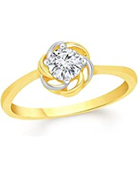 VK Jewels Floral Center Diamond Studded Gold Plated Alloy CZ American Diamond Finger Ring For Women & Girls [VKFR2912G]