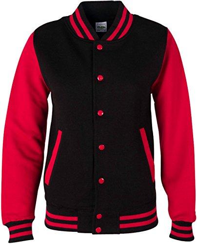 EZYshirt® Unisex Damen Herren & Kinder College Jacke Damen/Schwarz/Rot/Rot