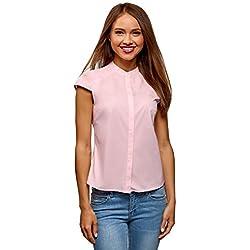 oodji Ultra Mujer Camisa Raglán con Cuello Mao, Rosa, ES 38 / S