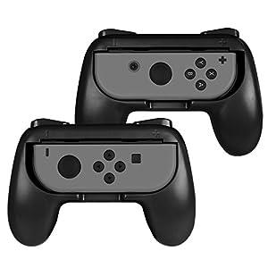 Fintie Grip für Nintendo Switch Joy-Con – [2er-Pack] [Ergonomisches Design] Verschleißfeste Komfort Griff Kit Griffhalter für Nintendo Switch Konsole Joy-Con Controller, Schwarz