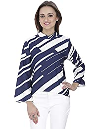 SVT ADA COLLECTIONS Poly Crepe White n Navy Blue Printed Designer TOP (024507_Navy Blue_Medium)