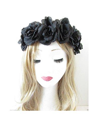 Starcrossed Beauty R95 Bandeau élastique vintage couronne de roses Style bohème Noir