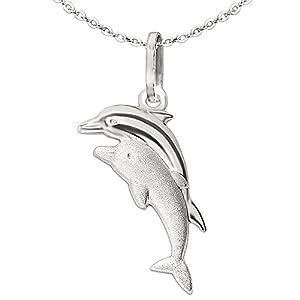 Clever Schmuck Set Silberner Anhänger Delfinpaar matt und glänzend kombiniert und Kette Anker 40 cm, beides STERLING SILBER 925 im Etui