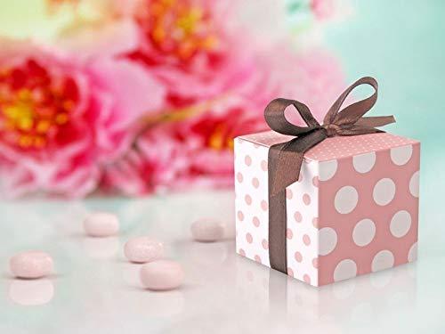 Stock 10 pezzi scatola scatolina portaconfetti porta confetti rosa a pois con nastro in raso bomboniera nascita bambina