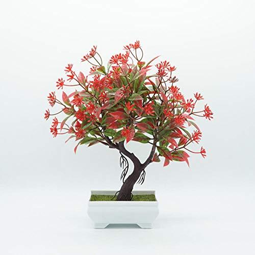 Preisvergleich Produktbild Ymwenj Künstliche Blume Simulation Von Blumentöpfen Einladende Kiefernbonsai-Plastikblume Im Topf @ Rot
