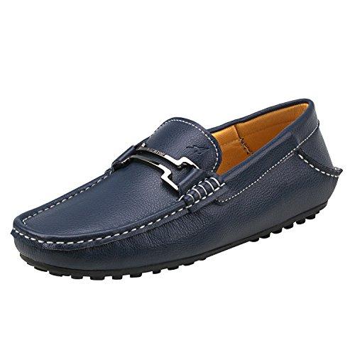 Shenduo - Mocassins pour homme cuir - Loafers confort - Chaussures de ville D6681 Bleu