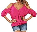 Signore Camicetta di Estate Felpa Collo Spalla-Free Chic 3 4 Braccio Monocromatico Parti Superiori della Maglietta Scollo A V Fionda Camicie Ragazza (Color : Rosa, Size : XL)