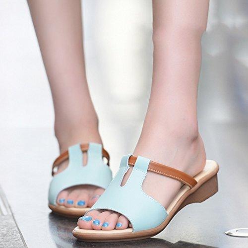 Confortevole Pantofole di estate Donna femminile che trascina i sandali Pattini piani di cuoio Pistoni freddi di modo Donne pattini dell'usura (6 colori facoltativi) (formato opzionale) È aumentato (  E