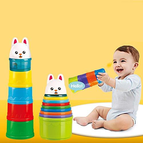 leegoal Bath Stacking Cups, BPA-freie Nesting Cups Frühe pädagogische Kleinkinder Toy Sorting Cups mit Tierfiguren, Baby Badespielzeug Cute Rabbit Topper für Kinder Kind