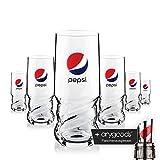 6 x Pepsi Glas Gläser Axl 0,4l Softdrink Gastro Bar Deko + Flaschenausgiesser
