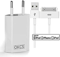 OKCS Ladeset - USB Ladekabel 2 Meter + 1A Netzteil für Apple iPhone 4, 4s, iPad 2, 3 & iPod - in der Farbe Weiß