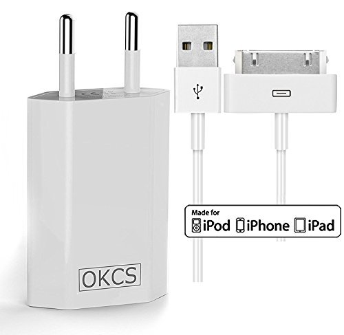 OKCS Ladeset - USB Ladekabel 2 Meter + 1A Netzteil für Apple iPhone 4, 4s, iPad 2, 3 & iPod - in Weiß