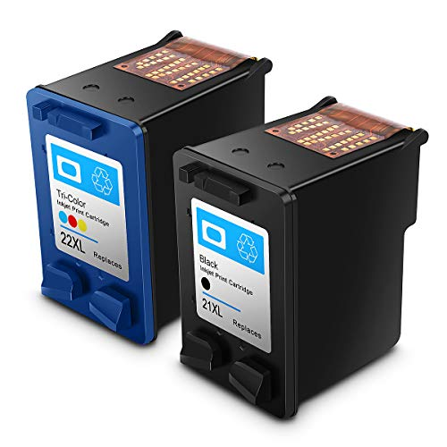 Rebuilt HP 21 22 XL HP21 / 22xl High Performance Ink Cartridges Compatible with HP DeskJet, HP OfficeJet and HP Envy (1 Black, 1 Tricolor)