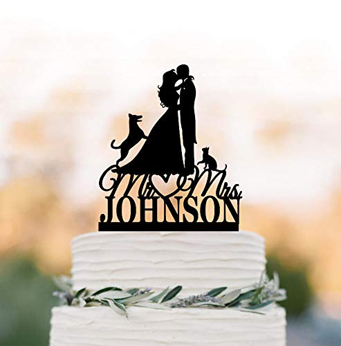Personalized decoration for wedding cake with cat and German shepherd dog, silhouette of bride and groom, funny decorative figure for wedding cake