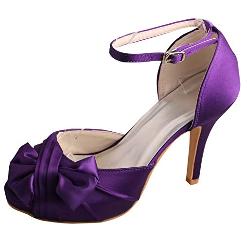 SERAPH MW410 Damen Knöchelriemen Satin Pumps Plattform High Heel Bow Hochzeit Sandalen Größe 36-42,Purple,36EU Bow Heels