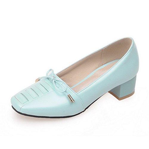 AllhqFashion Femme Couleur Unie Pu Cuir à Talon Bas Carré Tire Chaussures Légeres Bleu