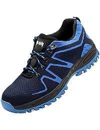 Zapatos de Seguridad Mujer Hombre Zapatos de Trabajo Puntera de Acero Antideslizante Zapatos Bajos de Senderismo