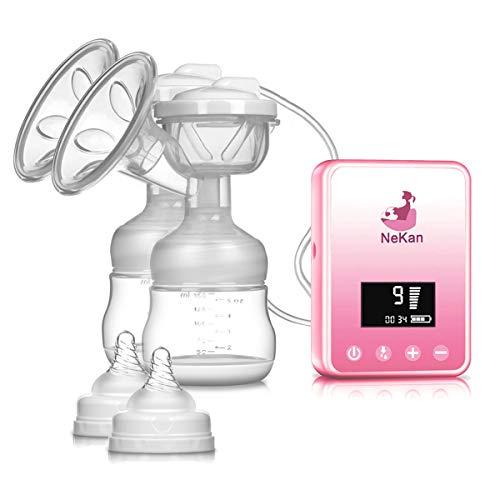 Sacaleches eléctrico Extractor de leche eléctrico doble Recargable Pantalla LCD digital con...