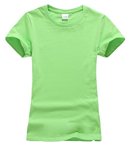 Smile YKK Femme Sweat-shirt T-shirt Tops Couleurs Bonbons Manches Courte Uni Col Rond de Sport Vert Clair
