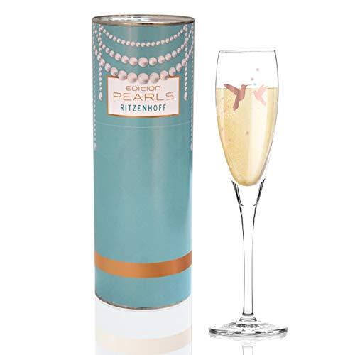 RITZENHOFF Pearls Edition Proseccoglas von Iris Interthal, aus Kristallglas, 160 ml, mit edlen Roségoldanteilen - Iris Glas