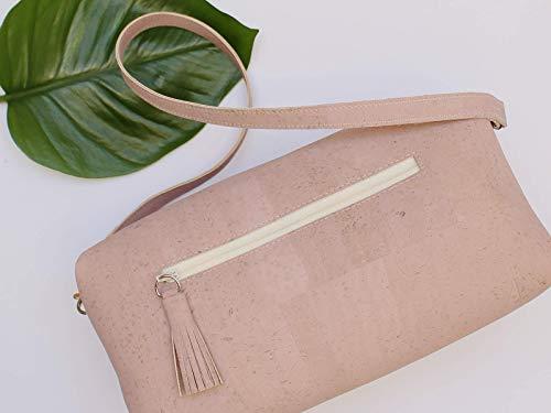 Kork Handtasche, Umhängetasche, vegan, rosa Schultertasche, Geschenk, - 5