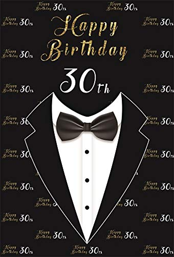 BuEnn 8 x 10 ft Männer 30. Geburtstag Photo Booth Hintergrund Mann Anzug Jacke Erwachsene Vaters 30 Jahre alt Party Fotografie Hintergrund Video Vorhänge Tapete Vinyl Photo Booth Requisiten -