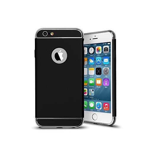 iPhone 6S Hülle, 3 in 1 Ultra Slim hart Hülle Anti- rutsch Matte Oberfläche mit Galvanik Grenze für Iphone 6(4.7 '')(2014) und Iphone 6S (4.7 '')( 2015) -- Silber Schwarz