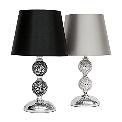 ZOE Crackle Mosaic Table Lamp - Black/Silver