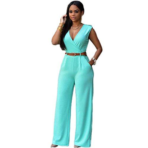 meinice V Collo Cintura Embellished tuta Green Small