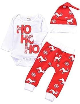Kobay Weihnachten Neugeborene Säuglingsbaby Mädchen Spielanzug Tops + Hosen Weihnachten Deer Outfits Set