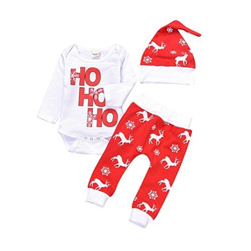 Kobay Weihnachten Neugeborene Säuglingsbaby Mädchen Spielanzug Tops + Hosen Weihnachten Deer Outfits Set (70 / 6Monat, Rot)