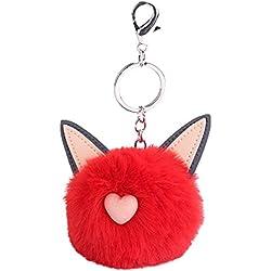 MOIKA Porte-clés porte-clés accessoire Mignon Fluffy Cat Oreille Barbe Pompon Pendentif Porte-clés De Voiture Porte-clés Sac Ornement Valentines Cadeau D'anniversaire(Rouge)
