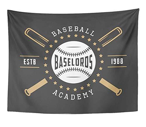 Vintage Schwarz-entertainment-center (Monicago Wandteppiche, Tapestry Wall Hanging, ABC Vintage Baseball Emblem Badge and Design Academy Active Athlete Ball Bat 60