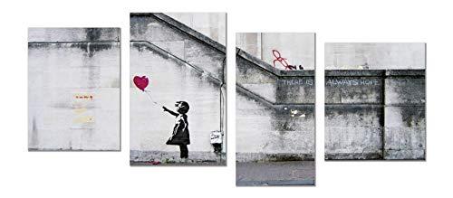 Panorama® quadro su tela canvas graffiti banksy ragazza con palloncino 70 x 30 cm 4 panelli modulari| stampa su tela alta qualità | quadri moderni soggiorno | stampe da parete moderne | decorazione