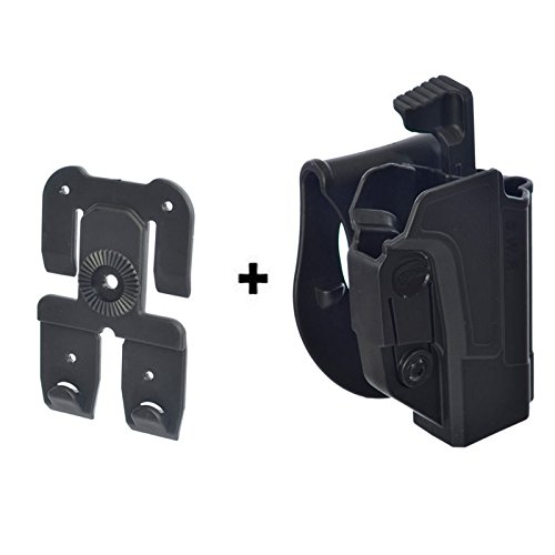 ORPAZ Defense Taktisch verstellbar drehbar drehung Paddle Pistole Holster Active Retention Mit Thumb Release Sicherheit + Molle adapter attachment für alle Smith & Wesson S&W M&P 9mm, .40cal, .22cal & .45cal, M2.0 .40 & .45, SD9, SD40, SD9VE (And Holster Smith Wesson-sd40 Ve)