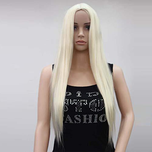 r täglichen Frauen in der Schulter Lange gerade Perücke Stadiumsmodellparty realistische Gesicht reparieren natürliche weiche Perücke (Farbe : Beige) ()