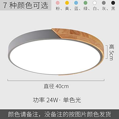 Lampe d'étude de chambre à coucher ultra-mince ronde en bois art lampes en fer forgé 40cm blanc jaune clair