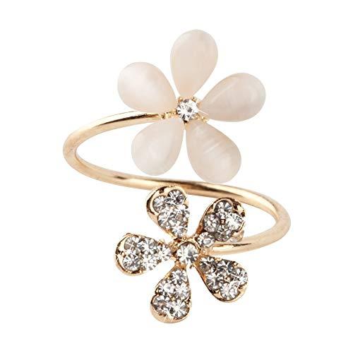 1 pieza de cristal doble margarita flor pétalos anillo lindo diseño de la marca Rhinestone anillo ajustable del Rhinestone para las mujeres joyería fina - oro