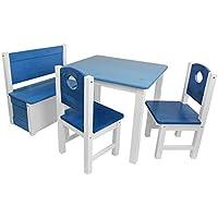 SunDeluxe Conjunto Infantil de Mesa y Asientos: 1 Mesa + 2 sillas + 1 baúl-Banco de Madera Maciza de Pino para niños - Mesa para Actividades Infantiles, Color:Azul