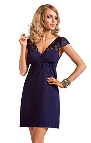 DONNA hochwertiges luftiges Viskose-Negligee Nachthemd Sleepshirt mit edler Spitzenverzierung, dunkelblau, Gr. 36