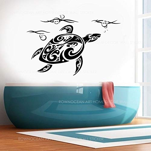 WWYJN Ocean Sea Turtle Flower Vinyl Wall Sticker Home Decor Bathroom Decal Room Coastal Decoration Mural Removable Wallpaper66x42cm - Wallpaper Hot Rod