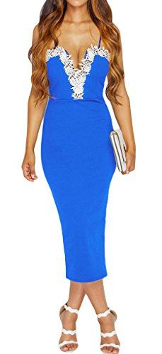 Bigood Robe Longue Femme Dentelle Robes de Cocktail Soirée Mariage Déguisement Sexy Col V Elégant Bleu