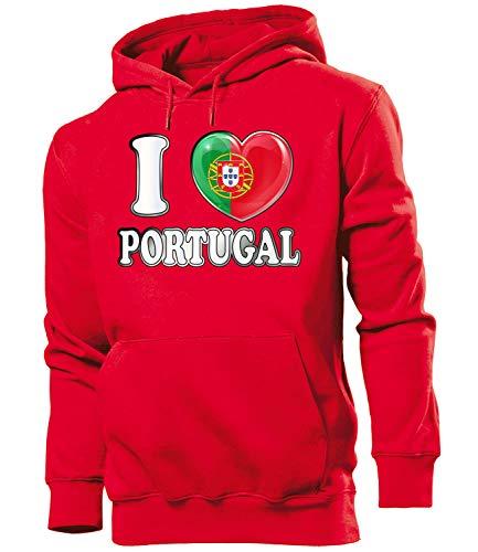 Golebros Portugal Fan Artikel 4777 Fuss Ball EM 2020 WM 2022 Hoodie Pulli Sweatshirt Kapuzen Pullover Flagge Fahne camisola Futebol Team Männer Herren M