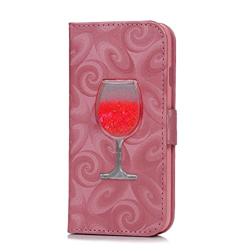 iPhone 6 Plus Flip Case,iPhone 6S Plus Hülle YOKIRIN Rosa Luxus Weinglas Treibsand PU Leder Folio Schutzhülle Hell Flüssig Sand Magnetverschluss Lederhülle Ledercase Handytasche Flip Cover Halfter Pro Rosa