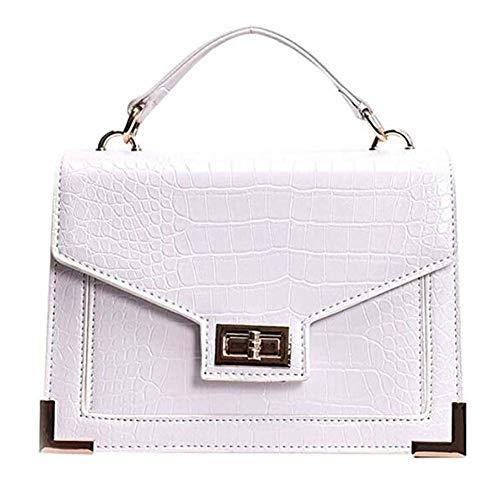 Fell Satchel Handtasche (hsy Umhängetasche Fashion Lady Volltonfarbe Krokoprägung Wild Handtasche Schultertasche Clutch Bags (Color : White))