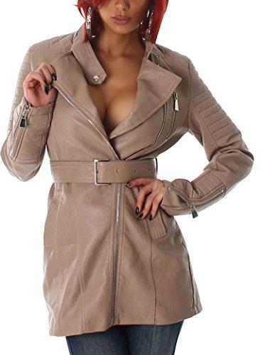 Elegante Damen Jacke in Leder Optik und viele eleganten Details wie Reißverschluss, Taschen, Gürtel u.v.m., in den Größe 32-40 erhältlich Light Brown 38/40
