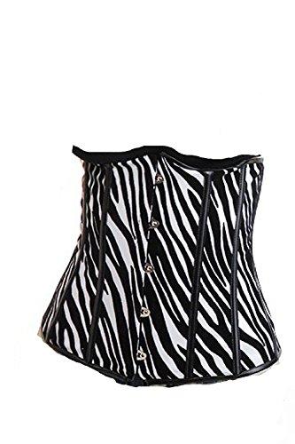 Unterbrust Lack Gothik Tiger Muster Corsage + String Weiß/Schwarz