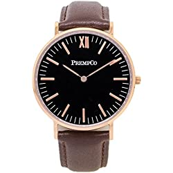 Prempco - Nobel - Ladies Watch - Black/Rose Gold - Quick Change Watch Wrist Band, Brown