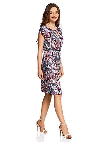 oodji Collection Damen Jersey-Kleid mit Gürtel Rot (4512F)