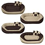 BedDog 4in1 Bed for a dog SUNNY XL till XXXL, 13 colours to choose, pillow for a dog, sofa for a dog, basket for a dog, beige/brown XXL, 110x80cm (43x31 inch)